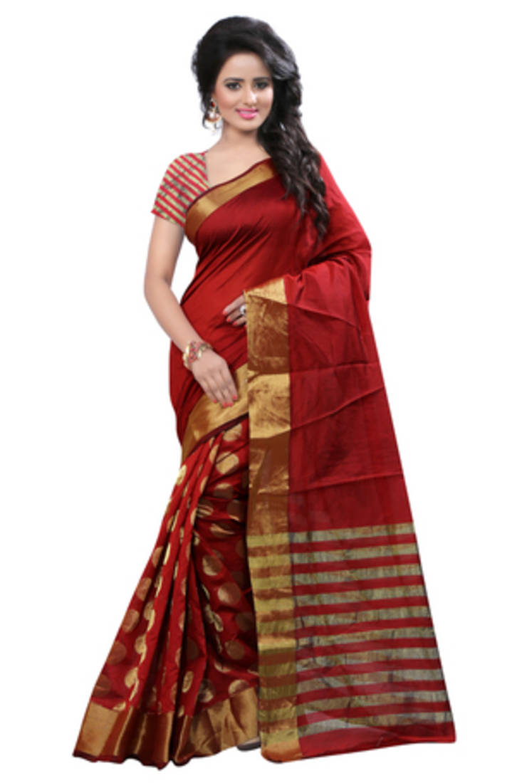 Buy Red Plain Cotton Silk Saree With Blouse Online