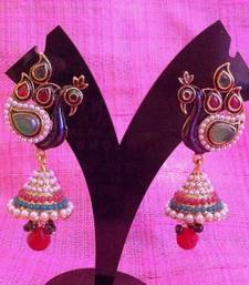 Buy Peacock with red green stone feathers stone jhumki Indian ethnic earring c470 jhumka online