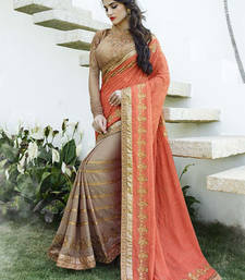 Buy Deep Beige and Coral embroidered Georgette Saree wedding-saree online