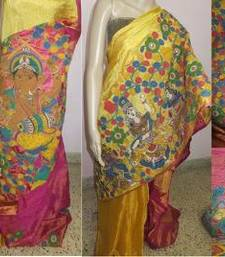 Buy Multicolor hand woven silk kalamkari saree with blouse kalamkari-saree online