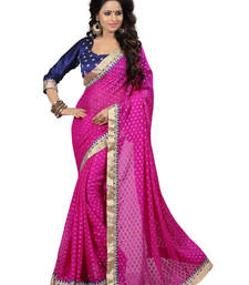 Buy Dark Pink embroidered viscose saree with blouse viscose-saree online