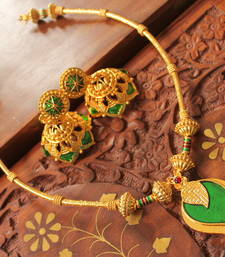 Buy GORGEOUS GOLDPLATED GREEN MANGO HANDMADE NECKLACE SET necklace-set online