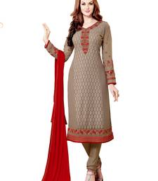 Buy Gray Embroidereded georgette semi stitched salwar with dupatta party-wear-salwar-kameez online