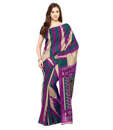 Buy Voilet printed Cotton saree with blouse cotton-saree online