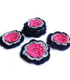 Buy Handmade Crochet Motifs | Set of 10 | Dark Blue, Light Blue, Pink gifts-for-her online