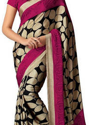 Buy Beige and Pink printed art_silk saree with blouse party-wear-saree online