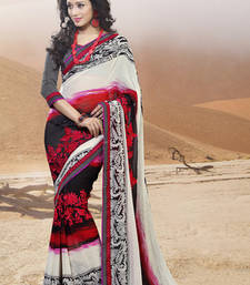 Buy Black and red georgette embroidered sarees with blouse party-wear-saree online