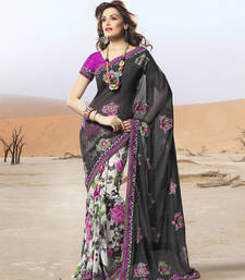Buy Black and white georgette embroidered sarees with blouse party-wear-saree online