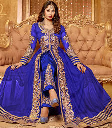 Buy Blue net embroidered semi stitched salwar with dupatta party-wear-salwar-kameez online
