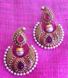 Buy Designer Ethnic Indian Bollywood Jewelry- Elegant Dark Pink pearl earring ha65r Earring online