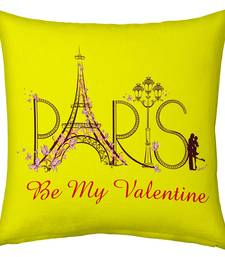 Buy Designer Romantic Print Yellow Filled Cushion valentine-gift online