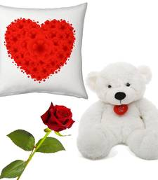 Buy Red Heart Valentine Print Cushion Rose n Teddy Gift valentine-gift online