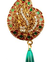 Buy Meenakari  Auatrian Stone Maroon & Green Gold Finish Broach brooch online