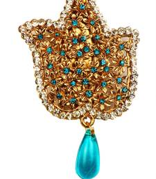 Buy Auatrian Stone Blue Drop Gold Finish Broach brooch online