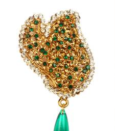 Buy Auatrian Stone Green Drop Gold Finish Broach brooch online