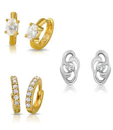 Buy Combo of Shimmer Bali Hoop Stud Earrings for Women jewellery-combo online
