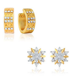 Buy Combo of Floral Bali Hoop Stud Earrings for Women jewellery-combo online
