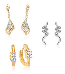 Buy Combo of Swirl Bali Hoop Stud Earrings for Women jewellery-combo online