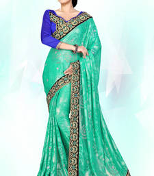 Buy Cyan embroidered georgette saree with blouse party-wear-saree online