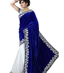 Buy blue embroidered velvet saree with blosue velvet-saree online