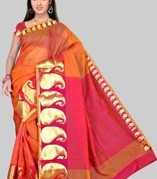 Buy Pavecha's Mangalgiri Chettinad Cotton Sari No 556 Orange DNO 510 cotton-saree online