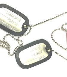 Buy Engraved Army Style With Black Thick Border 2 Dog Tag Pendant with Bullet For Men gifts-for-him online