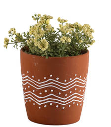 Buy Contemporary Print Brown Ceramic Planter Pot pot online