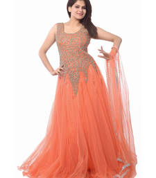 Buy Peach gujarat NET semi stitched party-wear-gowns party-wear-gown online