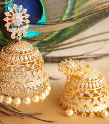 Buy Gorgeous goldplated cz designer royal jhumkka jhumka online