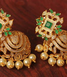 Buy Gorgeous goldplated cz-emerald  designer royal party wear jhumkkas jhumka online