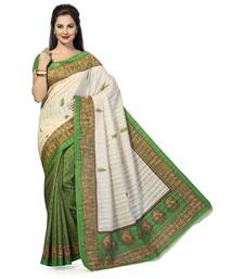 Buy Green printed dupion_silk saree with blouse printed-saree online