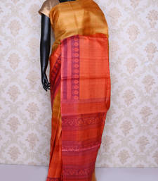 Buy Peach printed faux tussar silk saree with blouse tussar-silk-saree online