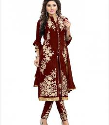 Buy Coffee Embroidered Georgette semi stitched salwar with dupatta collar-neck-design online