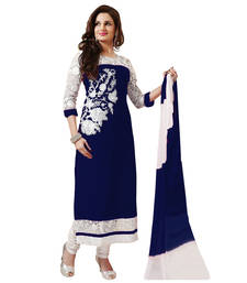 white and blue cotton embroidered semi stitched salwar with dupatta shop online