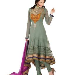 Fabdeal Sea Green Net Embroidered Unstitched Salwar Suit shop online