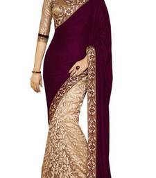 Buy Cream and purple embroidered velvet saree with blouse velvet-saree online