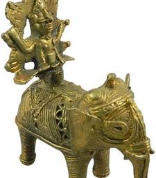 Buy Brass king sitting on elepant home-furnishing sculpture online