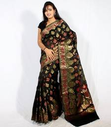 Buy Faux Chanderi banarasi fancy resham zari work saree faux-saree online