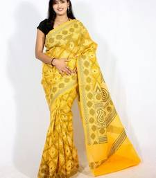 Buy Organza Cotton Stripe Banarasi  Bandhni saree cotton-saree online