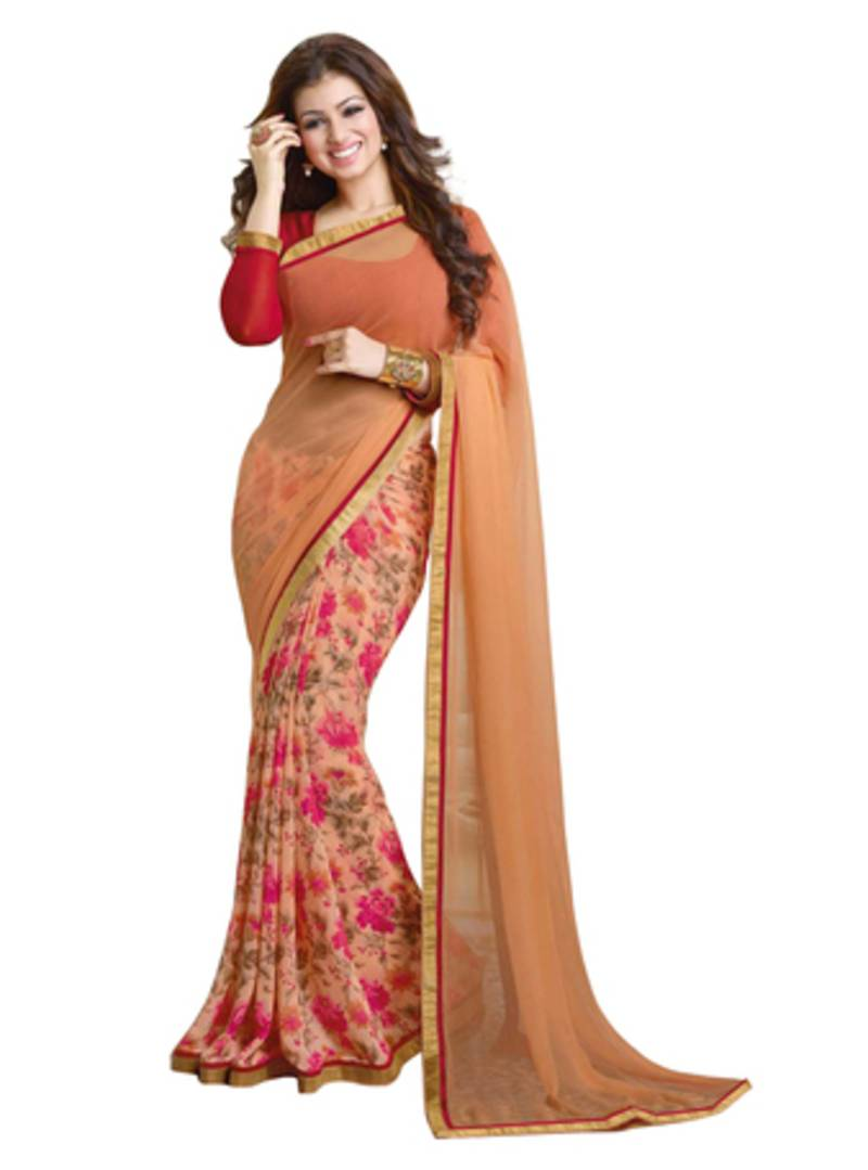 Buy Chiku And Red Printed Georgette Saree With Blouse Online