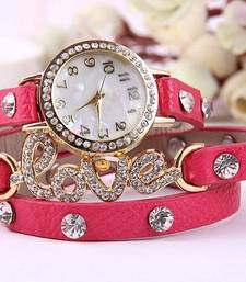 Buy Fency Bracelet Watch-Love Diamond (Pink) watch online