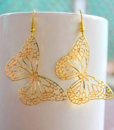 Buy Golden Filigree Butterfly Earring danglers-drop online