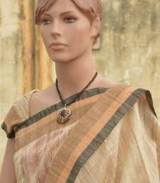 Buy Designer Matka silk Handloom saree with matching matka silk blouse jute-saree online