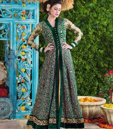 Buy Green embroidered velvet semi stitched salwar with dupatta pakistani-salwar-kameez online