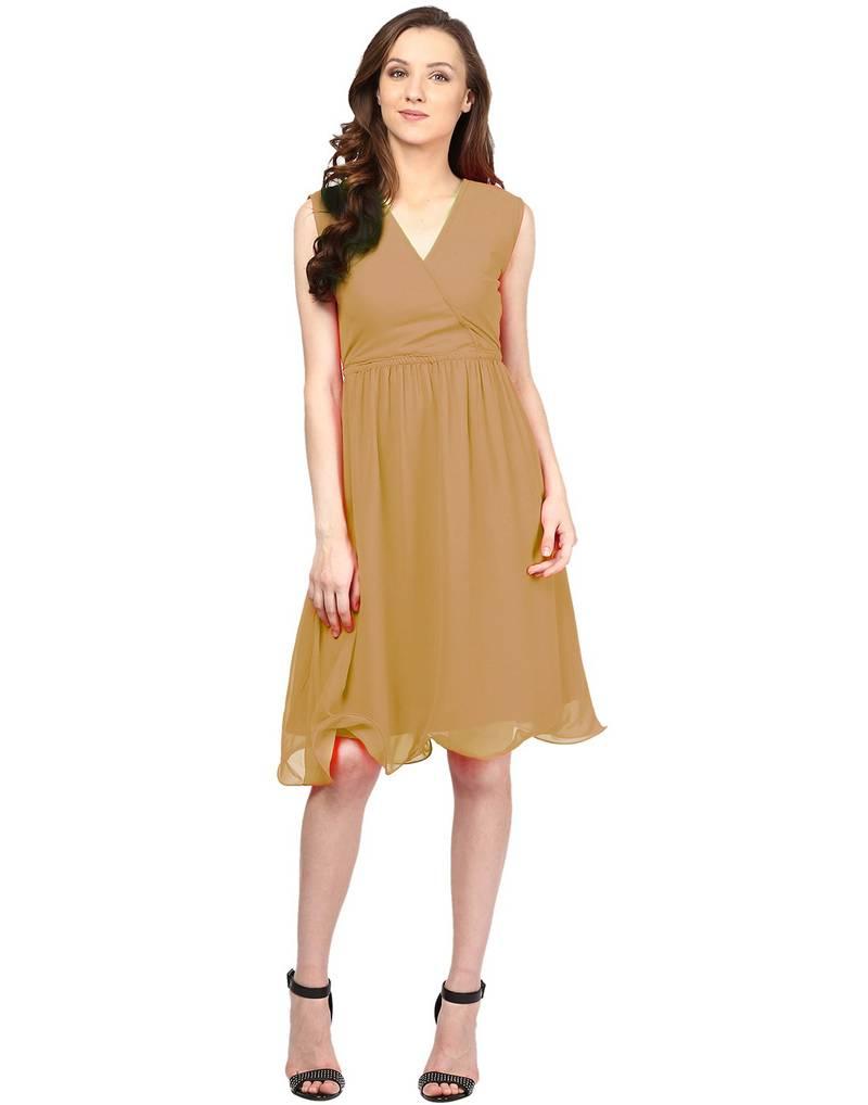Buy Beige Printed Georgette Western Dress Online