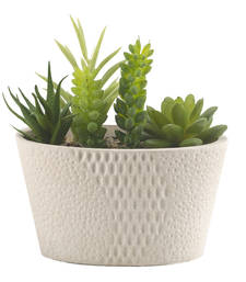 Buy Green Artificial Plant with Basket Style Pot pot online