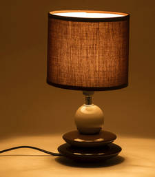 Buy Brown Cylinderical Shade Ceramic Base Table Lamp table-lamp online