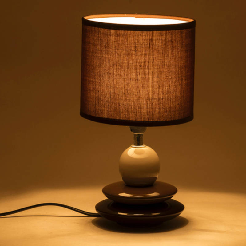 Buy brown cylinderical shade ceramic base table lamp online for Brown table lamp shades