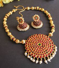 Buy BEAUTIFUL MEENAKARI HUGE PENDANT TEMPLE NECKLACE SET necklace-set online