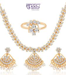 Buy Sukkhi Cluster Gold Plated AD Necklace-Earring-Ring Set necklace-set online